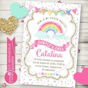 Kit Imprimible Arcoiris Nubes Corazones Candybar Invitación