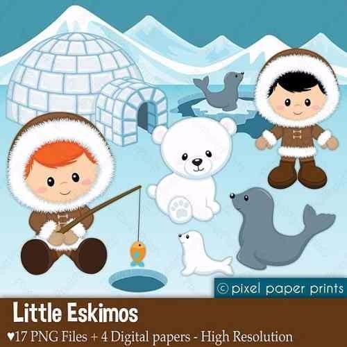 kit imprimible artico nieve imagenes clipart