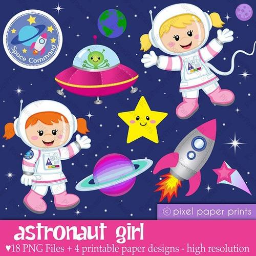 kit imprimible astronauta nena imagenes clipart b071