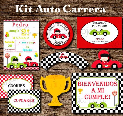 kit imprimible auto carrera - cumpleaños auto carrera
