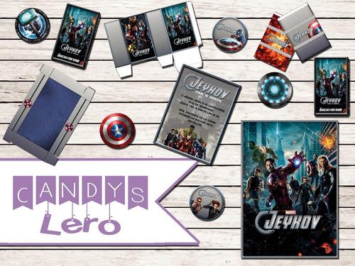 kit imprimible avenger los vengadores candy bar deco fotos