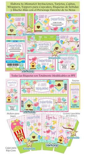 kit imprimible aves y pajaritos  + candy bar fiesta full