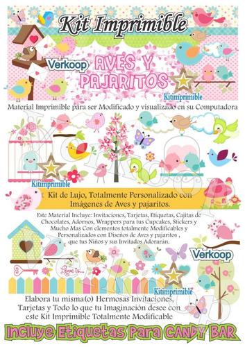 kit imprimible aves y pajaritos  + candy bar fiesta full