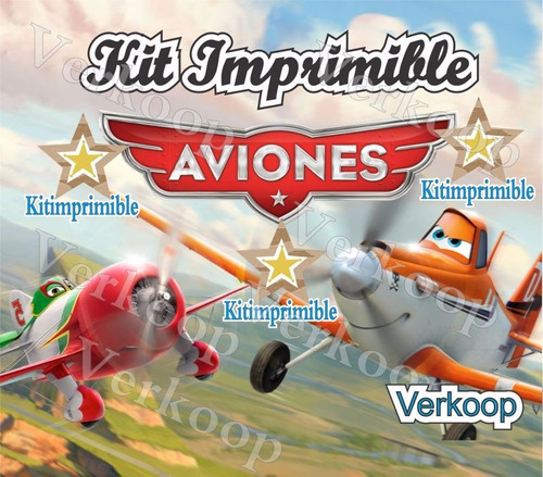 kit imprimible aviones + candy bar fiesta