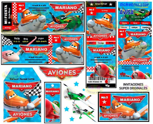 kit imprimible aviones planes invitaciones candy bar y mas !