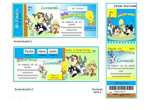 kit imprimible baby looney tunes, nuevo, invitaciones