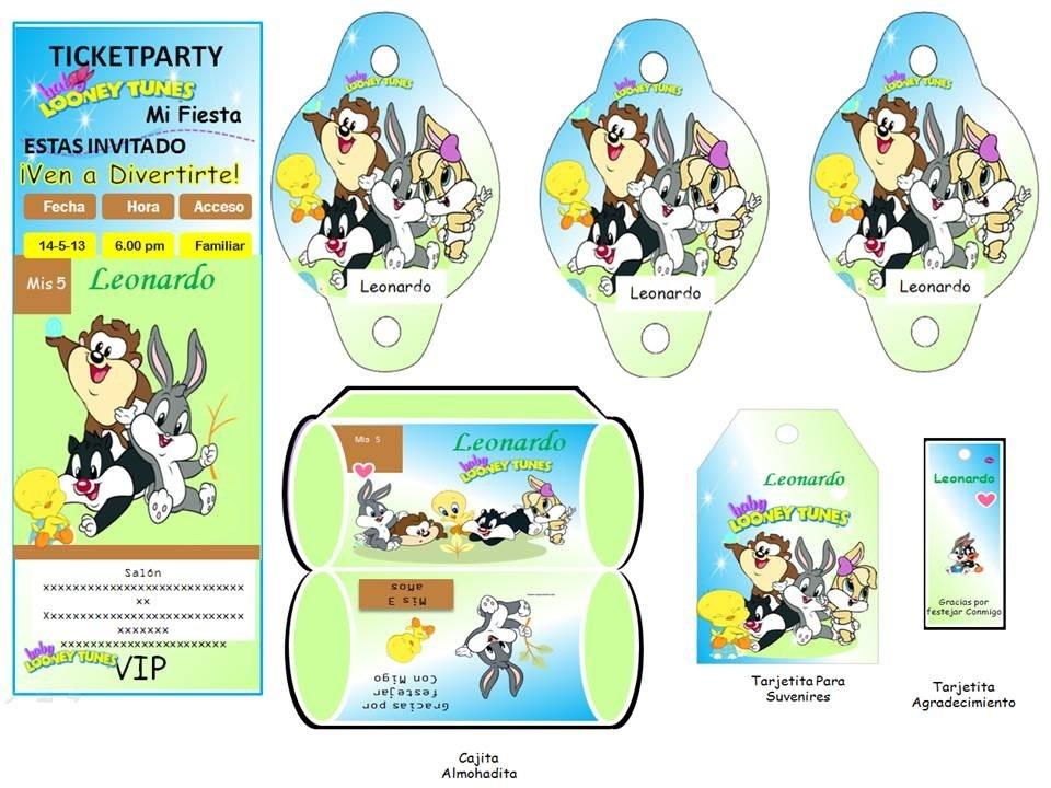 Kit Imprimible Baby Looney Tunes Nuevo Invitaciones