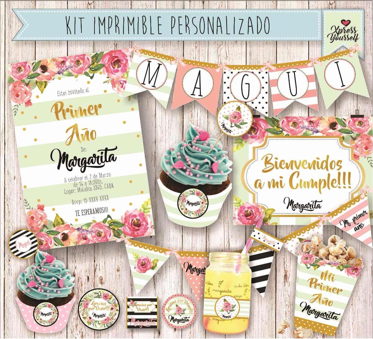 Kit Imprimible Baby Shower 1 Año Princesa Candybar Bautismo - $ 270 ...