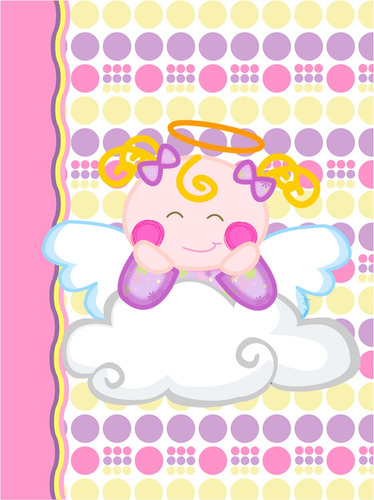 kit imprimible baby shower bautizo comunion angelita nube