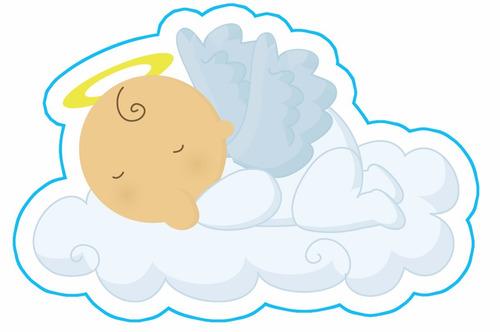 kit imprimible baby shower bautizo comunion angelito nube