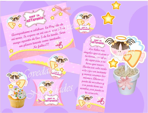 kit imprimible baby shower bautizo comunion cumpleaño angel2