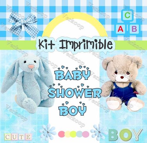 kit imprimible baby shower boy niño invitaciones tarjetas