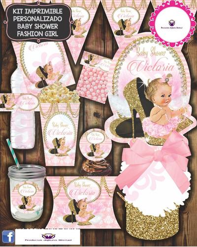 kit imprimible baby shower fashion girl
