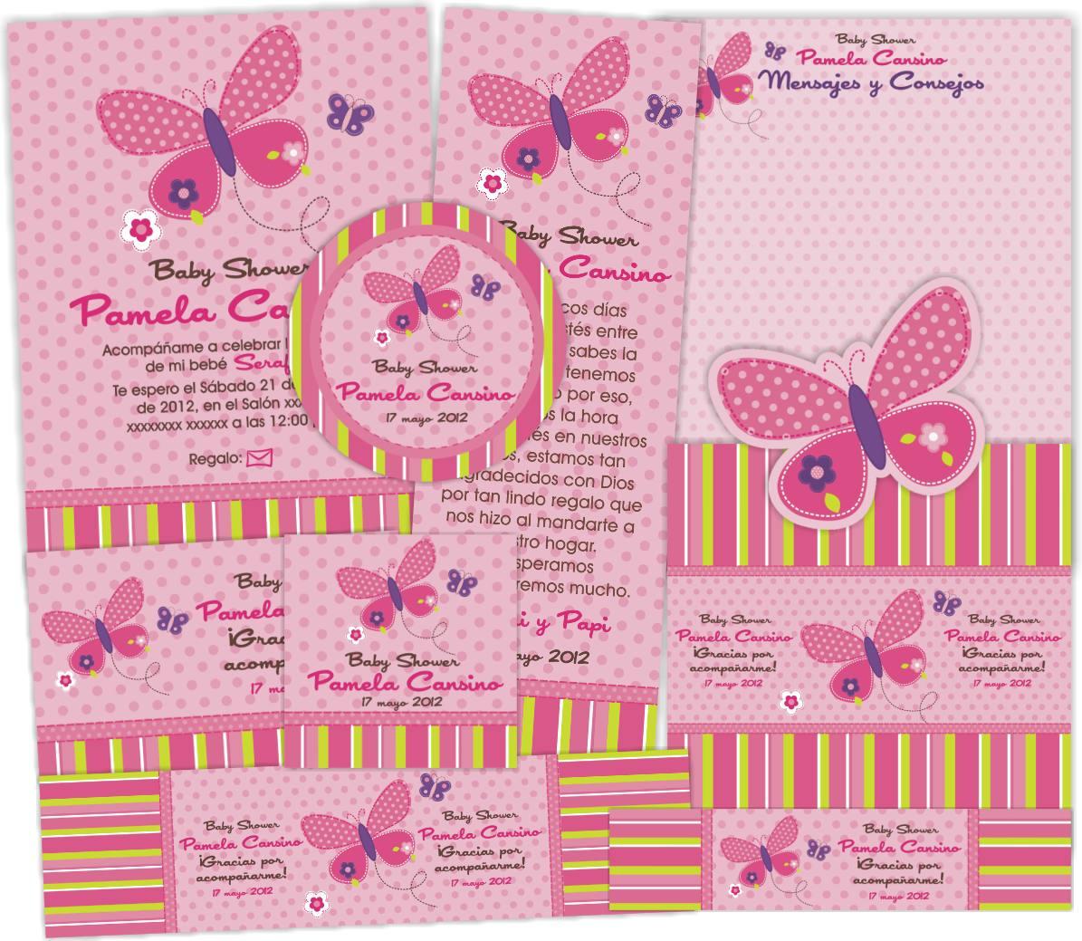 kit imprimible baby shower mariposa invitaciones bautizo