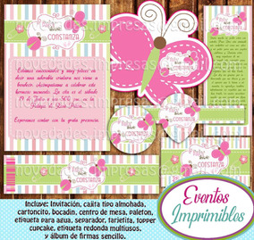 Kit Imprimible Baby Shower Mariposas Candy Bar Invitaciones