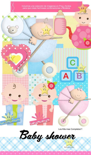 kit imprimible baby shower nene diseñá tarjetas y mas cod01