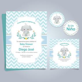 Kit Imprimible Baby Shower Nene Varón Invitacion Elefante