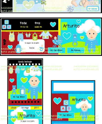 kit imprimible baby shower niño invitaciones recuerdos