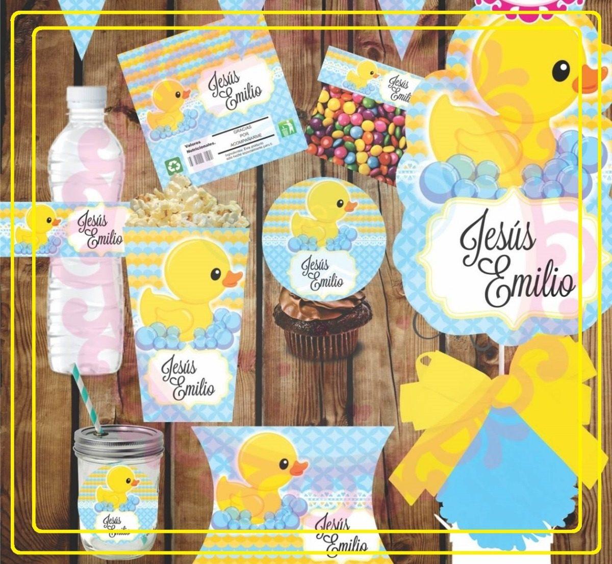Kit Imprimible Baby Shower Patito Etiquetas Personalizadas