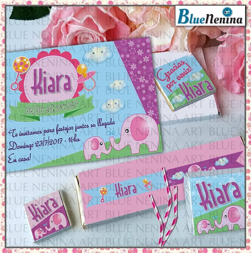 Kit Imprimible Baby Shower Primer Ano Candy Bar Elefante 200 00