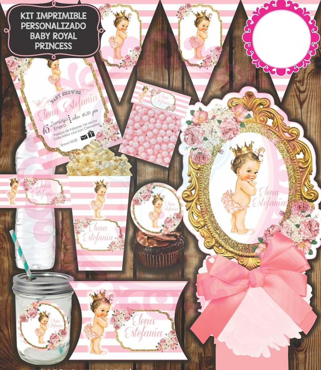 Kit Imprimible Baby Shower Princesa Bebe Corona Dulces Candy ...