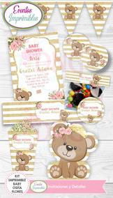 Decoracion Baby Shower Nina De Princesa.Kit Imprimible Baby Shower Princesa Osita Glitter Dorado