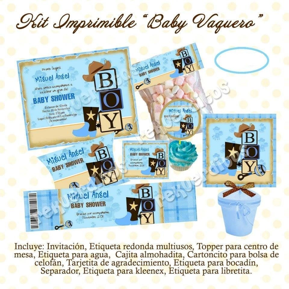 Kit imprimible baby shower vaquero ni o mesa dulces for Mesa de dulces para baby shower nino