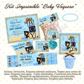 Arreglos Para Baby Shower Vaquero.Kit Imprimible Baby Shower Vaquero Nino Mesa Dulces Postres