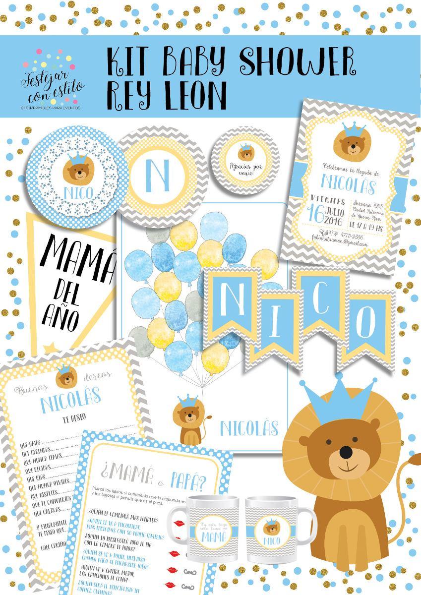 Tematica Para Baby Shower Varon.Kit Imprimible Baby Shower Varon Rey Leon