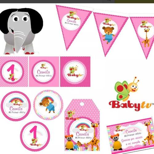 kit imprimible baby tv niña candy bar personalizado
