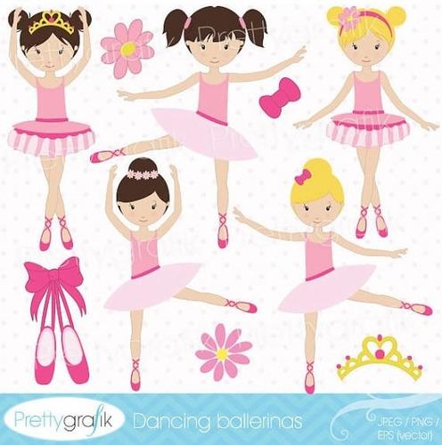 kit imprimible bailarinas imagenes clipart cod559