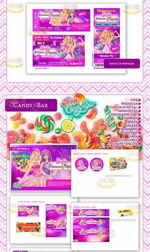 kit imprimible barbie candy bar invitaciones cajitas y mas