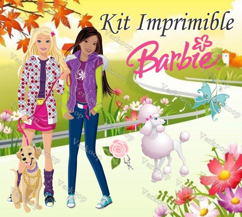 Kit Imprimible Barbie Carteles Invitaciones Tarjetas Marcos ...