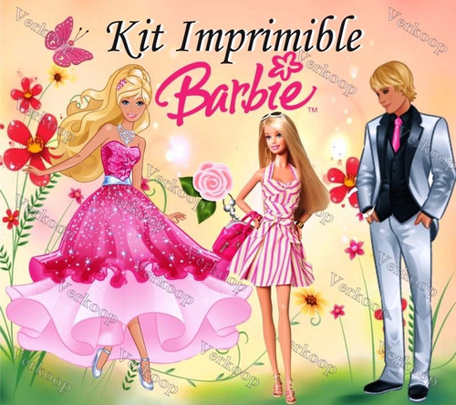 kit imprimible barbie carteles invitaciones tarjetas marcos