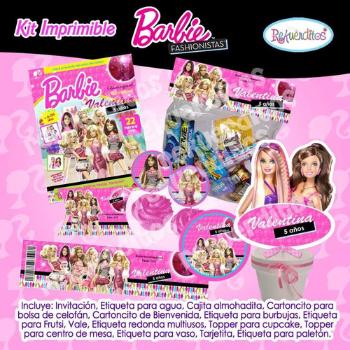kit imprimible barbie fashionista tarjetas invitaciones 10