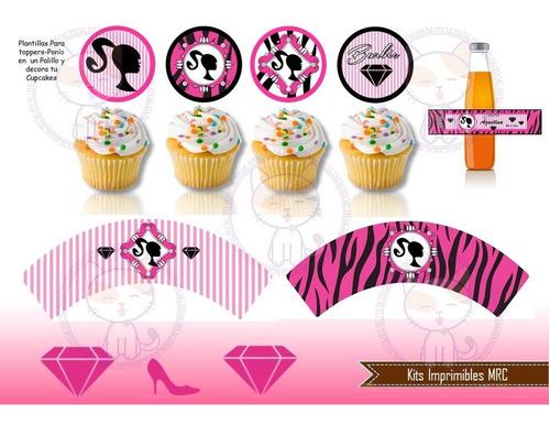 kit imprimible barbie silueta cotillón cumpleaños fiesta 2x1