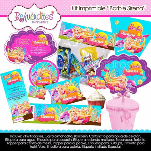 kit imprimible barbie sirena 3 tarjetas invitaciones