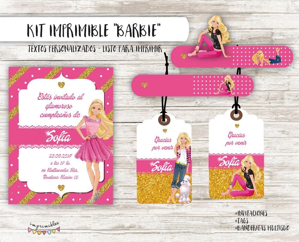 Kit Imprimible Barbie Textos Personalizados 230 00 En