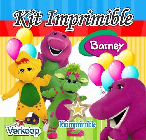 kit imprimible barney candy bar fiesta