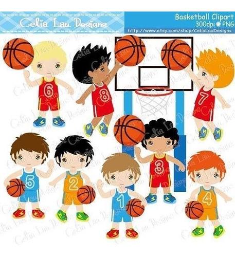 kit imprimible basketball clipart b105