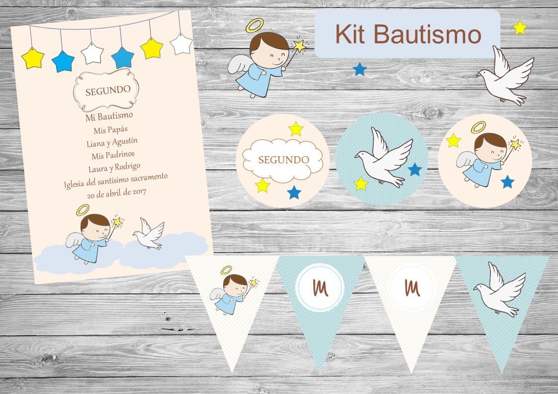 Kit Imprimible Bautismo,angelito, Candy, Invitación, - $ 220,00 en ...