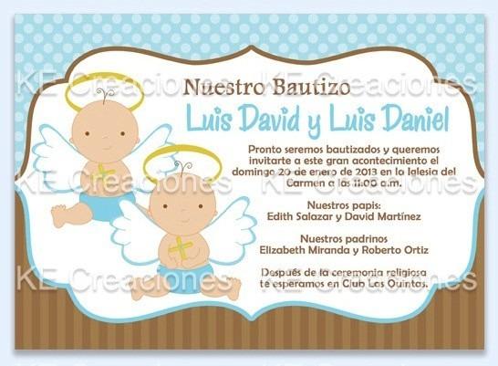Kit Imprimible Bautizo Gemelos Niño Niña Invitacion - $ 100.00 en ...