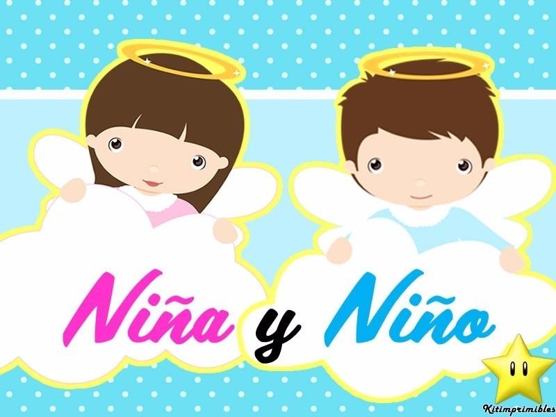 Kit Imprimible Bautizo Niño Y Niña Tarjetas Invitaciones