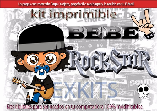 kit imprimible bebe rock rockstar bebe tarjetas cumple 2x1
