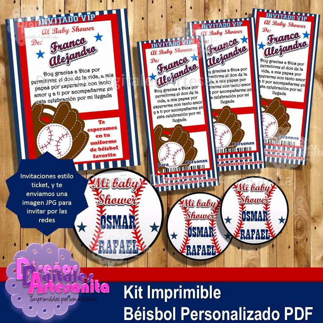 Kit Imprimible Béisbol Cumples Baby Shower Personalizado Pdf