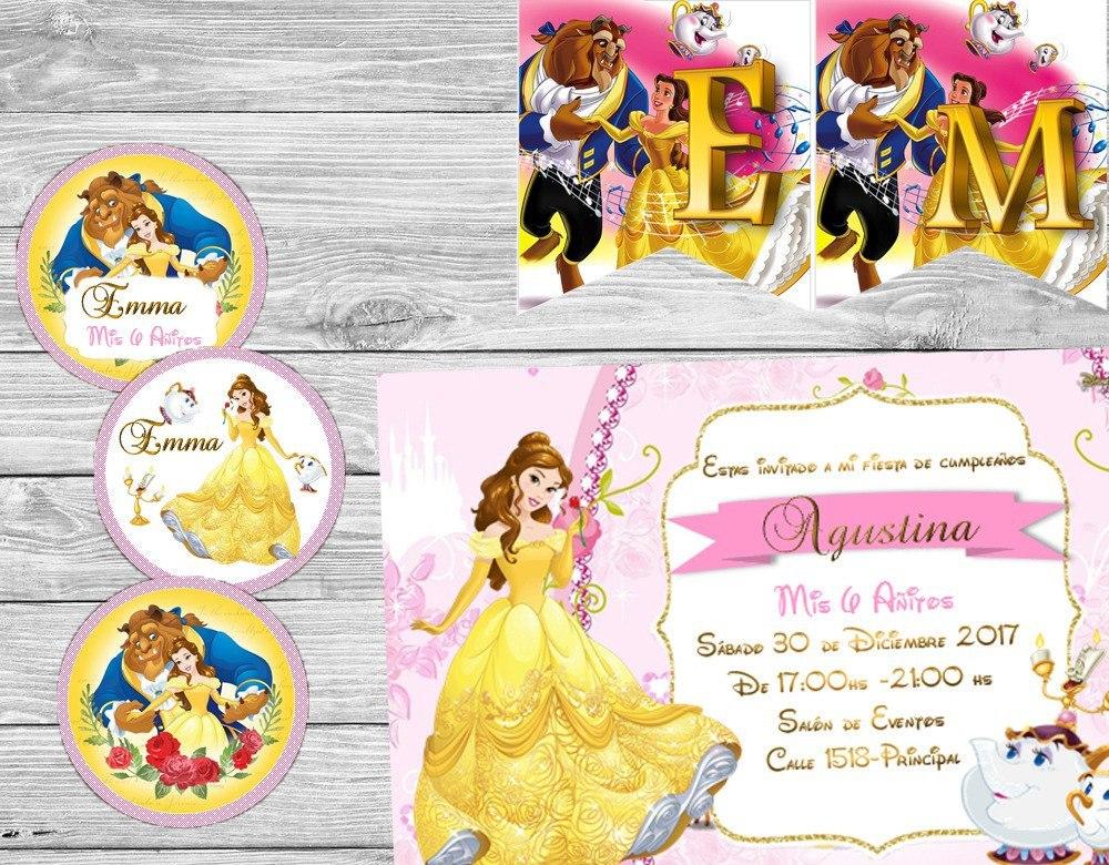 Kit Imprimible Bella Y Bestia Disney Cotillón Nuevo - $ 4.000 en ...