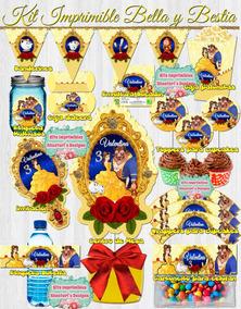 Kit Imprimible Bella Y La Bestia Invitacion Toppers Fiesta