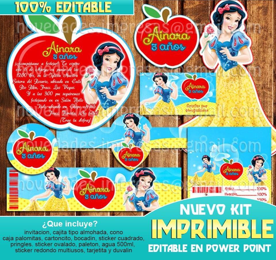 Kit Imprimible Blanca Nieves 2x1 - $ 19.00 en Mercado Libre