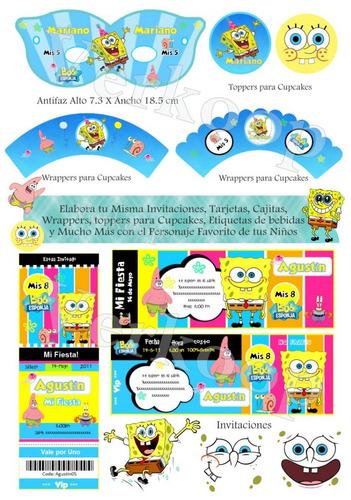 kit imprimible bob esponja invitaciones tarjetas frames