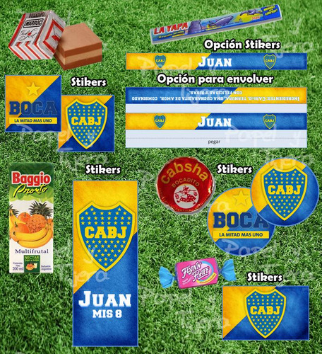 kit imprimible boca futbol candy bar invitaciones cotillon